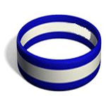 Three Stripe Colour Filled Silicone wristband